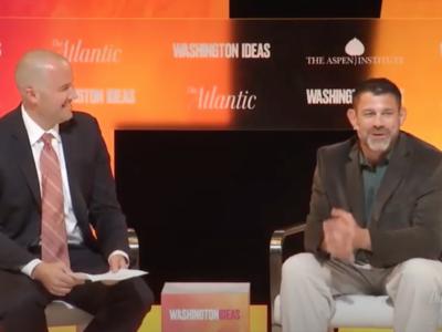 Bill being interviewed at Washington Ideas