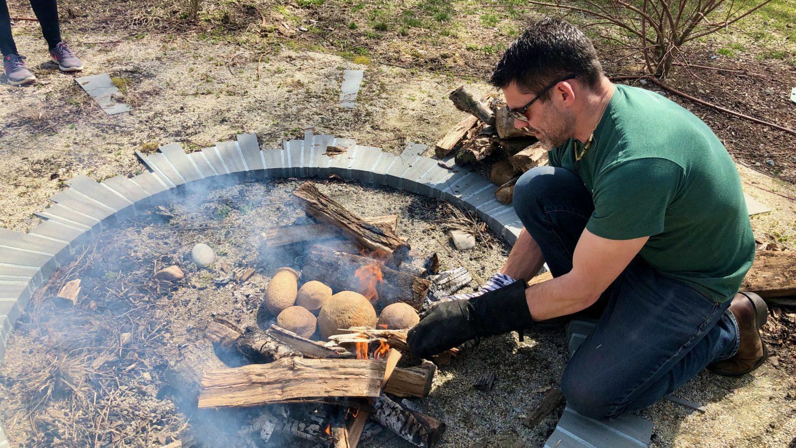Pot making over an open fire