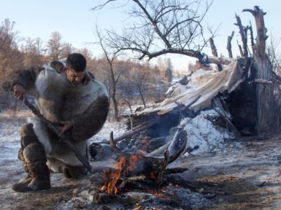 Bill cooking a yak brain in Mongolia