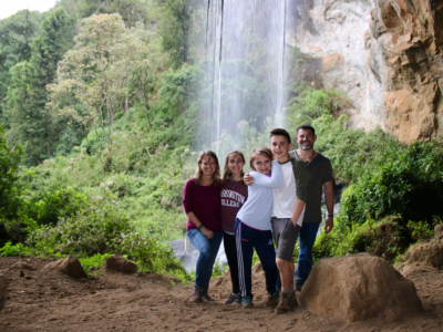 Family at falls in Kenya