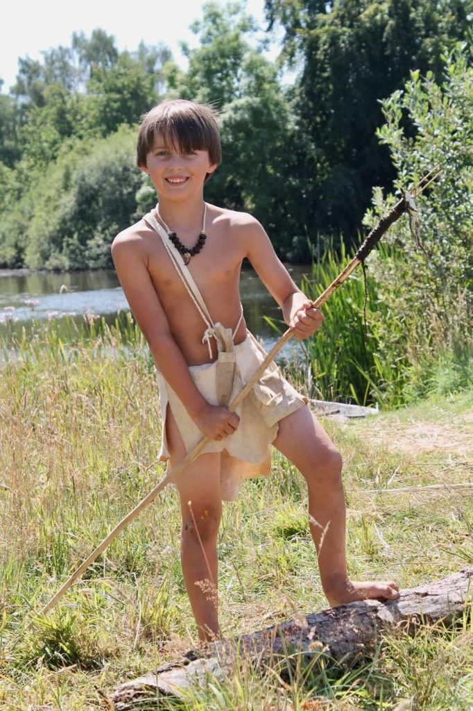 Billy in his loin clothe in Denmark after spearing a frog