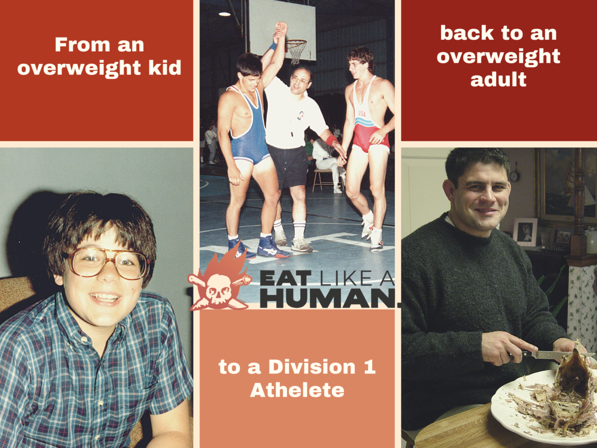 Images of Dr. Bill as a kid, wrestling and as an overweight adult