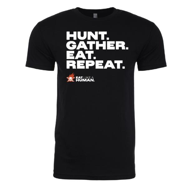 Hunt Gather Eat Repeat tshirt in Black